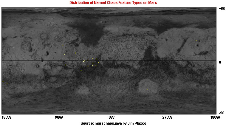 Global map that shows how chaos features are distributed on Mars
